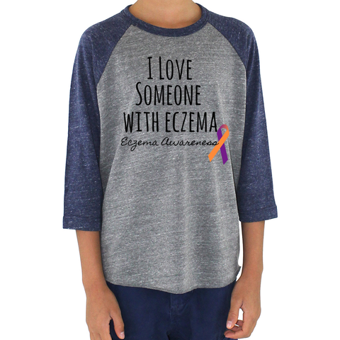 I Love Someone with Eczema Awareness Kids Raglan Baseball Shirt - Sunshine and Spoons Shop
