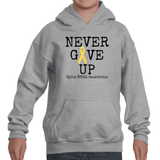 Never Give Up Awareness Ribbon Kids' Youth Hoodie Sweatshirt - Choose Color