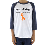 Keep Staring Maybe It'll Grow Back Limb Differences Awareness Kids Raglan Baseball Shirt