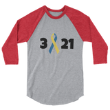 3 21 Down Syndrome Awareness 3/4 Sleeve Unisex Raglan - Choose Color - Sunshine and Spoons Shop