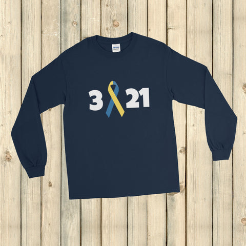 3 21 Down Syndrome Awareness Unisex Long Sleeved Shirt - Choose Color