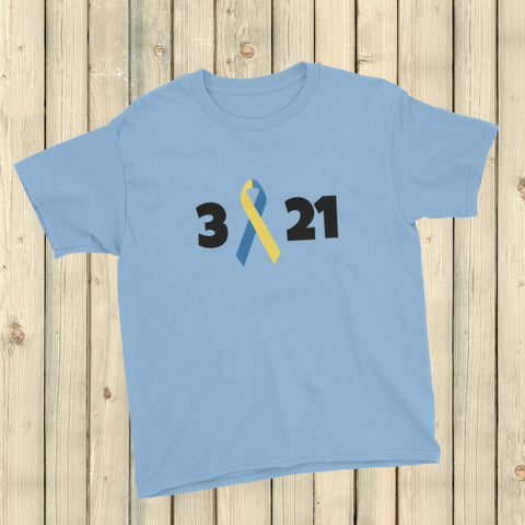 3 21 Down Syndrome Awareness Kids' Shirt - Choose Color