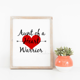 Aunt of a Heart Warrior Printable Print Art - Sunshine and Spoons Shop