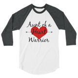 Aunt of a Heart Warrior CHD Heart Defect 3/4 Sleeve Unisex Raglan - Choose Color - Sunshine and Spoons Shop