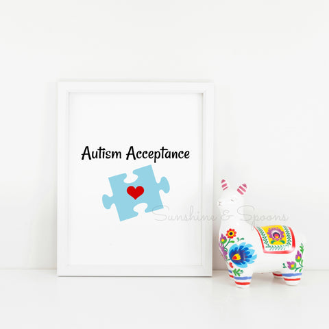 Autism Acceptance Awareness Puzzle Piece Printable Print Art - Sunshine and Spoons Shop
