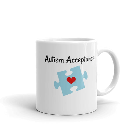 Autism Acceptance Awareness Puzzle Piece Coffee Tea Mug - Choose Size - Sunshine and Spoons Shop
