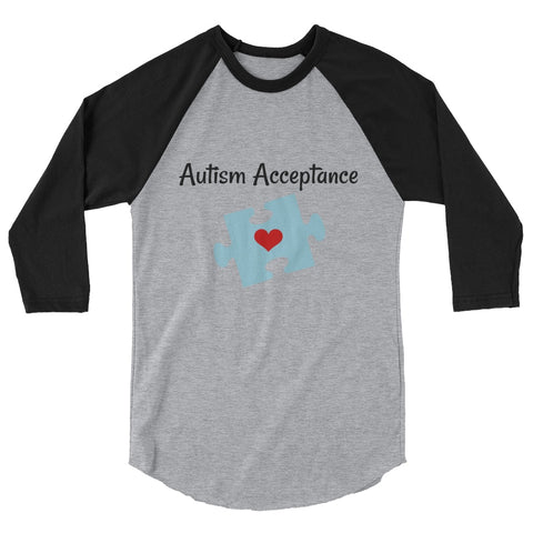 Autism Acceptance Awareness Puzzle Piece 3/4 Sleeve Unisex Raglan - Choose Color - Sunshine and Spoons Shop