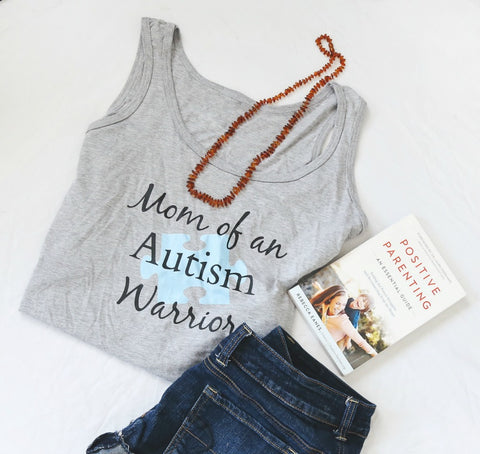 Mom of an Autism Warrior Awareness Puzzle Piece Women's Tank Top - Choose Color