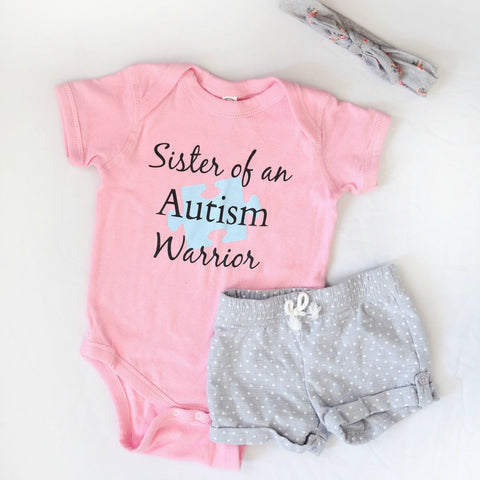 Sister of an Autism Warrior Awareness Puzzle Piece Onesie Bodysuit - Choose Color - Sunshine and Spoons Shop