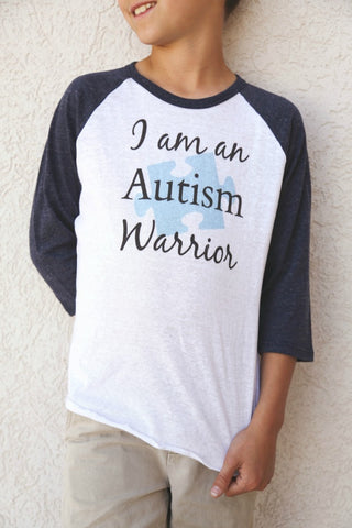 I am an Autism Warrior Awareness Puzzle Piece Kids Raglan Baseball Shirt - Choose Color - Sunshine and Spoons Shop