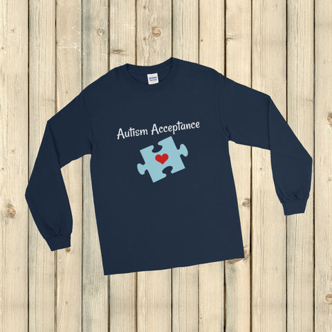Autism Acceptance Awareness Puzzle Piece Unisex Long Sleeved Shirt - Choose Color - Sunshine and Spoons Shop
