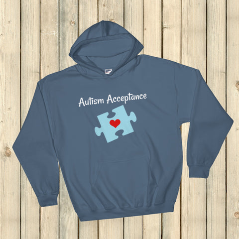 Autism Acceptance Awareness Puzzle Piece Hoodie Sweatshirt - Choose Color - Sunshine and Spoons Shop