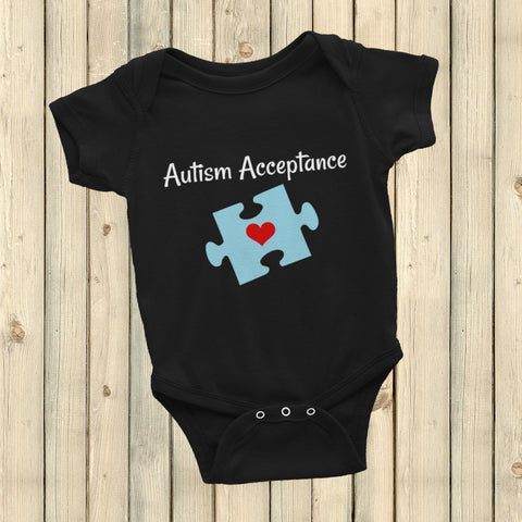 Autism Acceptance Awareness Puzzle Piece Onesie Bodysuit - Choose Color - Sunshine and Spoons Shop
