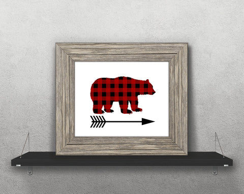 Buffalo Plaid Bear Arrow Printable Print Art - Sunshine and Spoons Shop