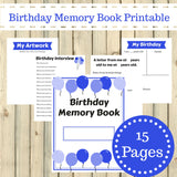 Blue Theme Birthday Memory Book Journal Printable 15 Pages Instant Download - Sunshine and Spoons Shop