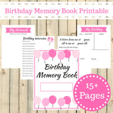 Pink Theme Birthday Memory Book Journal Printable 15 Pages Instant Download