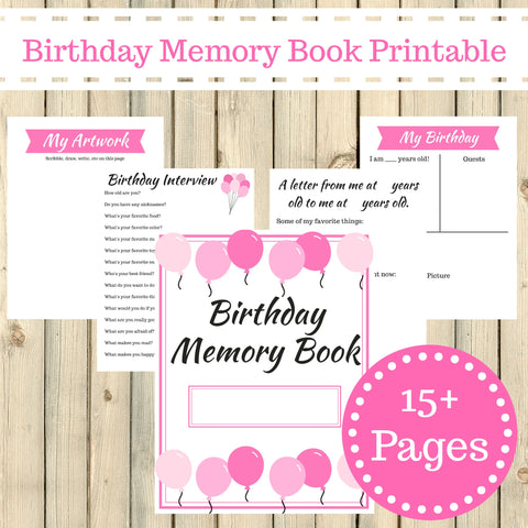 picture relating to Memory Book Printable titled Purple Topic Birthday Memory E-book Magazine Printable 15 Web pages