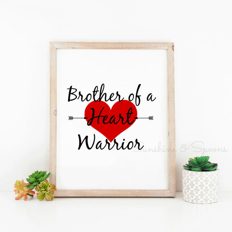 Brother of a Heart Warrior Printable Print Art - Sunshine and Spoons Shop