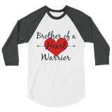 Brother of a Heart Warrior CHD Heart Defect 3/4 Sleeve Unisex Raglan - Choose Color - Sunshine and Spoons Shop