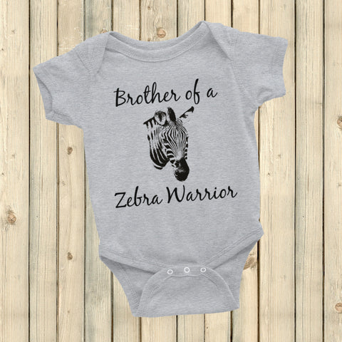 Brother of a Zebra Warrior Rare Disease Ehlers Danlos EDS Onesie Bodysuit - Choose Color - Sunshine and Spoons Shop