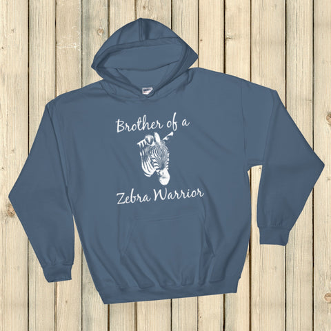 Brother of a Zebra Warrior Rare Disease Ehlers Danlos EDS Hoodie Sweatshirt - Choose Color - Sunshine and Spoons Shop