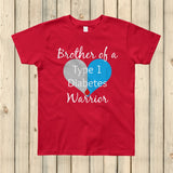 Brother of a Type 1 Diabetes Warrior T1D Kids' Shirt - Choose Color - Sunshine and Spoons Shop
