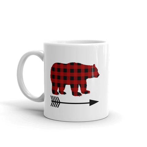 Buffalo Plaid Bear Wolf Deer Arrow Coffee Tea Mug - Choose Animal and Size
