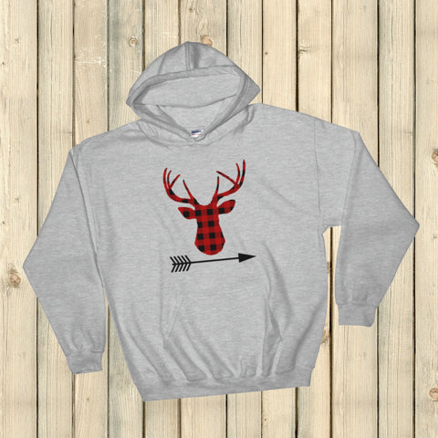 Buffalo Plaid Bear Wolf Deer Arrow Hoodie Sweatshirt - Choose Animal - Sunshine and Spoons Shop