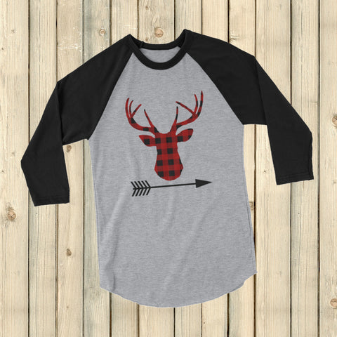 Buffalo Plaid Bear Wolf Deer Arrow 3/4 Sleeve Unisex Raglan - Choose Animal - Sunshine and Spoons Shop