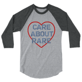 Care About Rare Disease 3/4 Sleeve Unisex Raglan - Choose Color