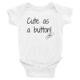 Cute as a Button G Tube Feeding Tube Onesie Bodysuit - Choose Color - Sunshine and Spoons Shop