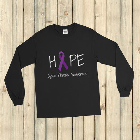Hope Ribbon for Cystic Fibrosis Awareness Unisex Long Sleeved Shirt - Choose Color - Sunshine and Spoons Shop