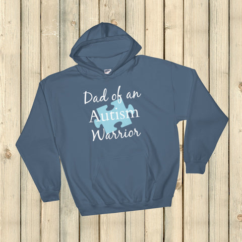 Dad of an Autism Warrior Awareness Puzzle Piece Hoodie Sweatshirt - Choose Color - Sunshine and Spoons Shop