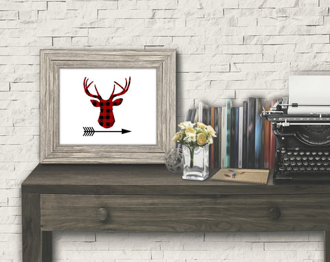 Buffalo Plaid Deer Arrow Printable Print Art - Sunshine and Spoons Shop