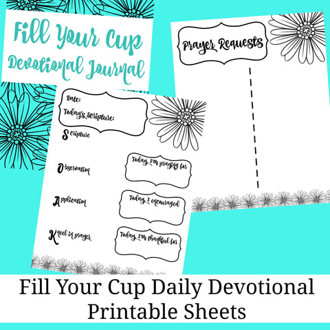 Fill Your Cup Daily Devotional Journal SOAK Method Printable Pages SOAP Gratitude Journal - Sunshine and Spoons Shop