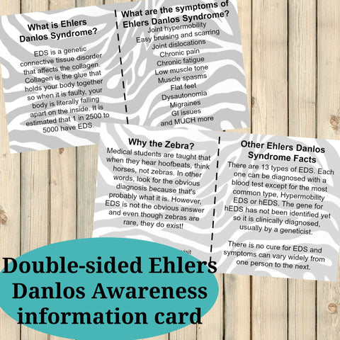 FREE Ehlers Danlos Syndromes EDS Printable Info Cards PDF - Sunshine and Spoons Shop