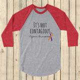 It's Not Contagious! Eczema Awareness 3/4 Sleeve Unisex Raglan - Choose Color