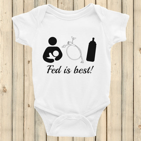 Fed Is Best Tube Feeding Breastfeeding Onesie Bodysuit - Choose Color - Sunshine and Spoons Shop