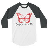 Fighting for a Cure for EB Epidermolysis Bullosa 3/4 Sleeve Unisex Raglan - Choose Color - Sunshine and Spoons Shop