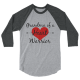 Grandma of a Heart Warrior CHD Heart Defect 3/4 Sleeve Unisex Raglan - Choose Color - Sunshine and Spoons Shop