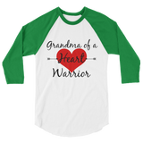Grandma of a Heart Warrior CHD Heart Defect 3/4 Sleeve Unisex Raglan - Choose Color