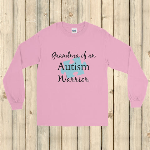 Grandma of an Autism Warrior Awareness Puzzle Piece Unisex Long Sleeved Shirt - Choose Color - Sunshine and Spoons Shop