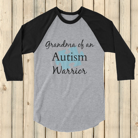 Grandma of an Autism Warrior Awareness Puzzle Piece 3/4 Sleeve Unisex Raglan - Choose Color - Sunshine and Spoons Shop