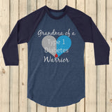 Grandma of a Type 1 Diabetes Warrior T1D 3/4 Sleeve Unisex Raglan - Choose Color - Sunshine and Spoons Shop