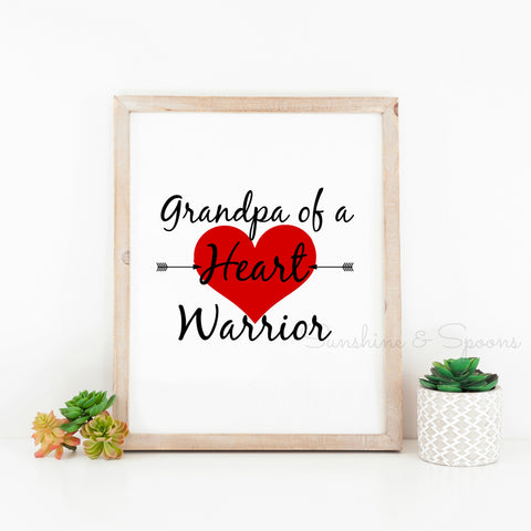 Grandpa of a Heart Warrior Printable Print Art - Sunshine and Spoons Shop