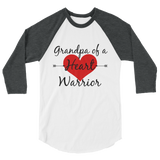 Grandpa of a Heart Warrior CHD Heart Defect 3/4 Sleeve Unisex Raglan - Choose Color - Sunshine and Spoons Shop