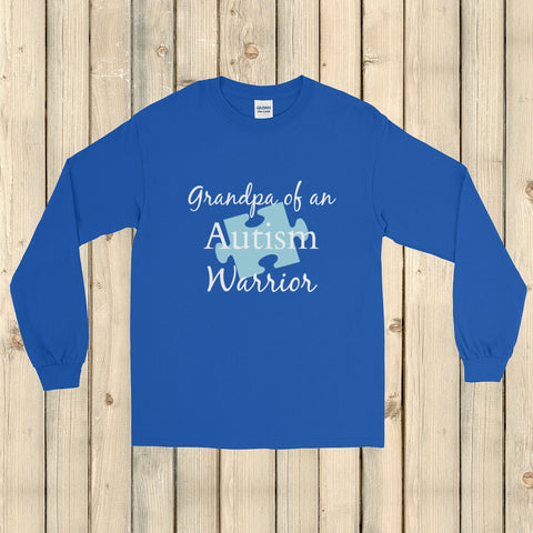 Grandpa of an Autism Warrior Awareness Puzzle Piece Unisex Long Sleeved Shirt - Choose Color - Sunshine and Spoons Shop