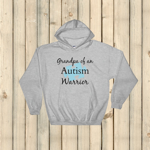 Grandpa of an Autism Warrior Awareness Puzzle Piece Hoodie Sweatshirt - Choose Color - Sunshine and Spoons Shop