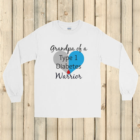 Grandpa of a Type 1 Diabetes Warrior T1D Unisex Long Sleeved Shirt - Choose Color - Sunshine and Spoons Shop