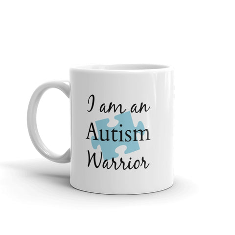 I am an Autism Warrior Awareness Puzzle Piece Coffee Tea Mug - Choose Size - Sunshine and Spoons Shop